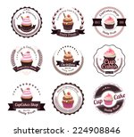 vintage retro cupcakes bakery... | Shutterstock .eps vector #224908846
