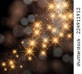 glittering stars on golden... | Shutterstock . vector #224911912