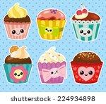set of six cartoon cupcakes | Shutterstock .eps vector #224934898