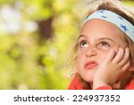 grumpy little girl. | Shutterstock . vector #224937352