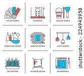 flat line icons set of interior ... | Shutterstock .eps vector #224943958