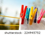 Stock photo clothes pegs on the washing line 224945752