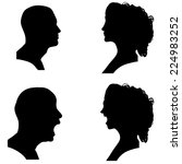 silhouettes people in profile... | Shutterstock . vector #224983252