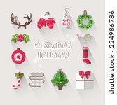 christmas elements with long... | Shutterstock .eps vector #224986786