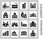 buildings icons set | Shutterstock .eps vector #225007276