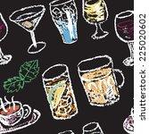 hand drawn restaurant menu... | Shutterstock .eps vector #225020602