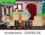 a vector illustration of happy... | Shutterstock .eps vector #225036118