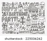 doodle birthday party background | Shutterstock .eps vector #225036262