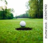 Golf Ball On Green Meadow. Golf ...