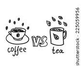 coffee vs tea doodle.