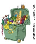 dumpster full of food   concept ... | Shutterstock .eps vector #225069736