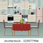 kitchen interior modern home... | Shutterstock .eps vector #225077986