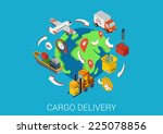 logistics cargo delivery flat... | Shutterstock .eps vector #225078856