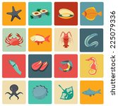 seafood icons flat set with... | Shutterstock .eps vector #225079336
