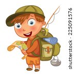 boy scouts. funny cartoon... | Shutterstock .eps vector #225091576
