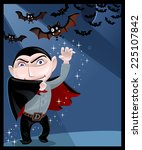 vector dracula greeting card | Shutterstock .eps vector #225107842