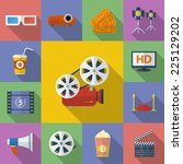 set of cinema  movie icons.  | Shutterstock .eps vector #225129202