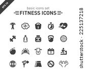fitness icons set. | Shutterstock .eps vector #225137218
