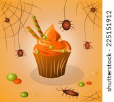 cupcake on halloween candy ... | Shutterstock .eps vector #225151912
