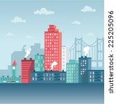 vector illustration winter city   Shutterstock .eps vector #225205096
