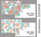 set of invitations with floral... | Shutterstock .eps vector #225226426