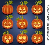 set of pumpkin faces for... | Shutterstock .eps vector #225229648