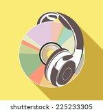 music cd and headphones i | Shutterstock .eps vector #225233305