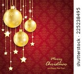 christmas baubles on red... | Shutterstock .eps vector #225238495