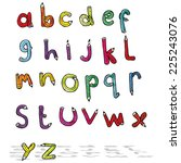 cartoon pencil shaped alphabet | Shutterstock .eps vector #225243076