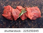 Raw Beef Cubes With Rosemary...
