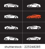 car icons on black background.... | Shutterstock .eps vector #225268285