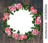 rose flower wreath on vintage... | Shutterstock . vector #225283066