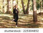 beautiful young woman running... | Shutterstock . vector #225304852