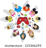group of children and play... | Shutterstock . vector #225306295