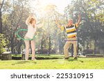 mature couple exercising with... | Shutterstock . vector #225310915