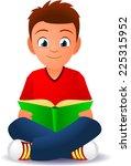 Boy Reading A Book Cartoon...
