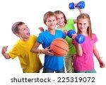 group of sporty children... | Shutterstock . vector #225319072