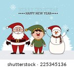 christmas design over blue... | Shutterstock .eps vector #225345136