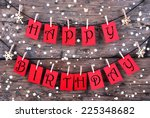 many red tags with happy... | Shutterstock . vector #225348682