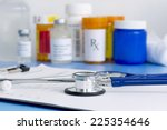 patient chart with stethoscope...   Shutterstock . vector #225354646