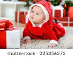 Beautiful Baby Girl In Santa...