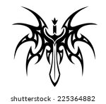 winged sword tattoo with barbed ... | Shutterstock . vector #225364882