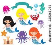 mermaid vector illustration | Shutterstock .eps vector #225365086