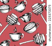 vector tea pattern | Shutterstock .eps vector #225373375