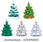 five different christmas trees... | Shutterstock .eps vector #225390052