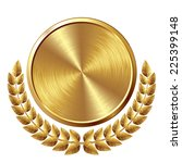 gold brushed medal with wreath. ... | Shutterstock .eps vector #225399148