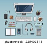 digitally generated desk with... | Shutterstock .eps vector #225401545