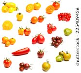 collection of tomatoes on a... | Shutterstock . vector #225409426