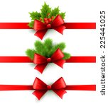christmas ribbon decoration | Shutterstock .eps vector #225441025
