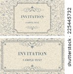 set of vintage invitation cards ... | Shutterstock .eps vector #225445732